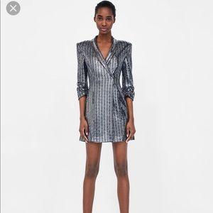 Zara Dresses - Zara Sequin Blazer Mini Dress